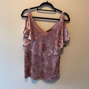 Velvet off the shoulder imitation top